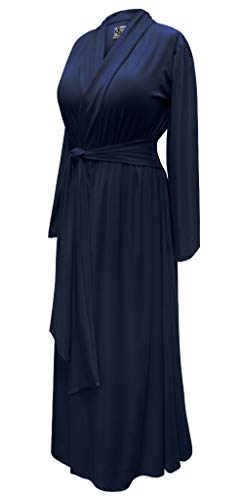 Solid Navy Blue Plus Size Robe in Poly/Cotton and Rayon/Spandex Jersey with Attached Belt (4X, Stretchy Brushed Poly Blend (Softest/Medium-Weight))