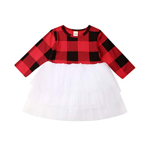 Merqwadd Toddler Baby Girl Christmas Dress Outfit Long Sleeve Winter Fall Dresses Clothes (Red Plaid-Tutu, 4-5T)