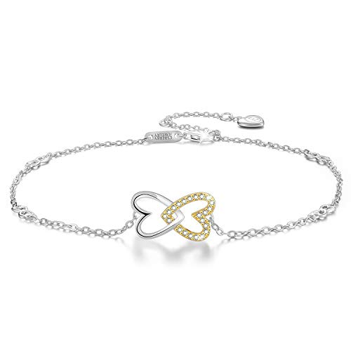 Esberry 18K Gold Plated 925 Sterling Silver 5A Cubic Zirconia CZ Double Love Heart Ankle Bracelets Charm Adjustable Foot Jewelry for Women and and Teen Girls,Gift for Valentine's Day