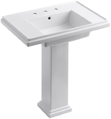 KOHLER K-2845-8-0 Tresham 30-inch Pedestal Bathroom Sink with 8-inch Widespread Faucet Drilling, White