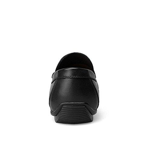 Color Shufang Mocassini morbida shoes da foderati in Penny Scarpe per pelle uomo in gomma EU guida Da Dimensione Mocassini Uomo Leisure Nero Strap 2018 Suola on Mocassini Decor 47 Slip Nero rra4q