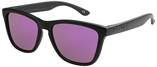 estilo tipo Nerd mate negro polarizadas lila Gafas sol Caballero CRUZE® Mujer 9 espejo de Hombre Gafas Dama 014 Vintage Retro X Unisex qf8UwxYR