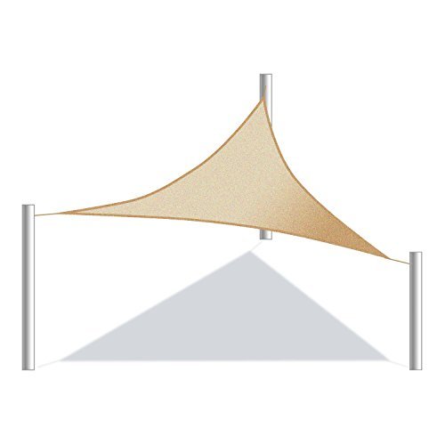 ALEKO SSNTRI16X16X16BE Sun Shade Sail Triangle Canopy Tent Replacement for Yard Patio Pool 16 x 16 x 16 Feet Beige (Diy Outdoor Structures Shade)