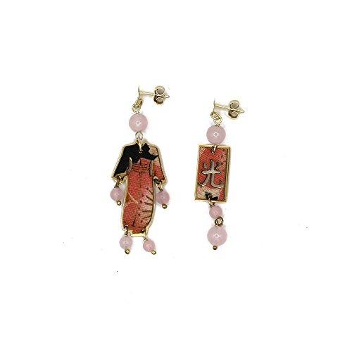 Lebole Bijoux Boucles d'oreilles kimono soie et argent petits kimargp04