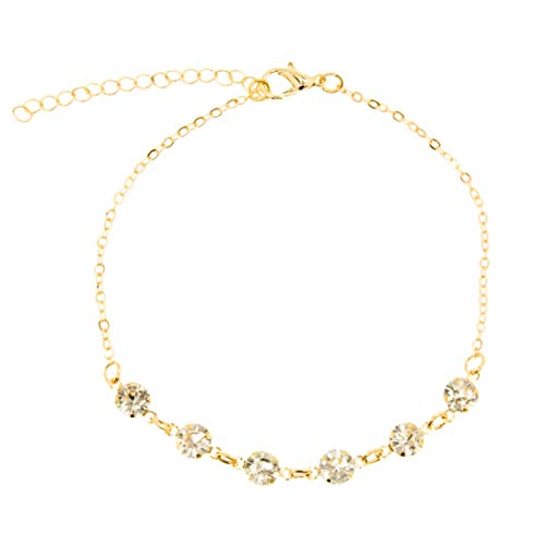 - RXBC2011 Multiple Rhinestone Gold Chain Adjustable Anklets Boho Beach Chain Multi Colored for Women
