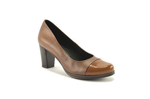 Desiree Negro en en tacón 36 con color Taupe ConBuenPie y Cuero by New Cuero Zapato Collection piel fpzwpF5PWq