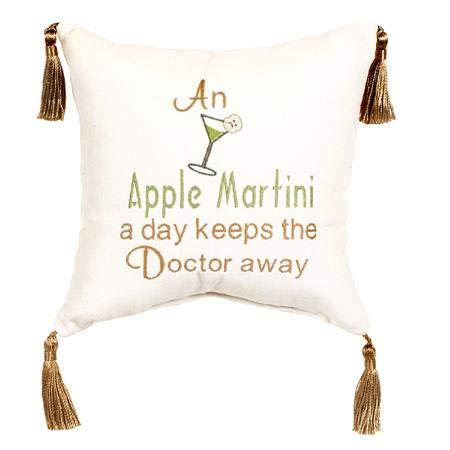 Leyla's Pillows Decorative Apple Martini Velvet Throw Pillow, Gift for Bar, Gift for Friend, Gag Gift, White, 10