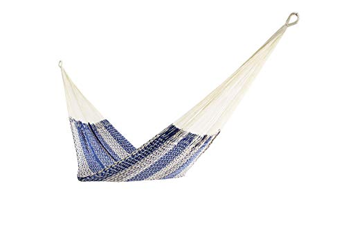 Thick Cord Mayan Hammock XXL BLUE AND BEIGE, COTTON ()