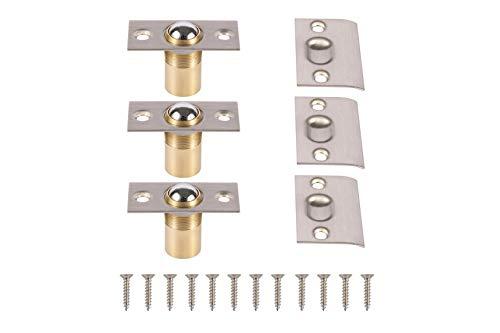 META Hardware Adjustable Cabinet/Closet/Door Large Ball Catch/Latch with Strike Plate & Screws, 2-1/8 inch, Satin Nickel (3 Pack) (Door Latch Spring)