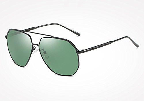 Hombre UV macho400 green de Silver Guía Espejos de Gafas Sunglasses Hombres polarizadas de Aleación Gafas TL Marco Revestimiento Gafas de Sol Gafas Sol Silver black wIcpx