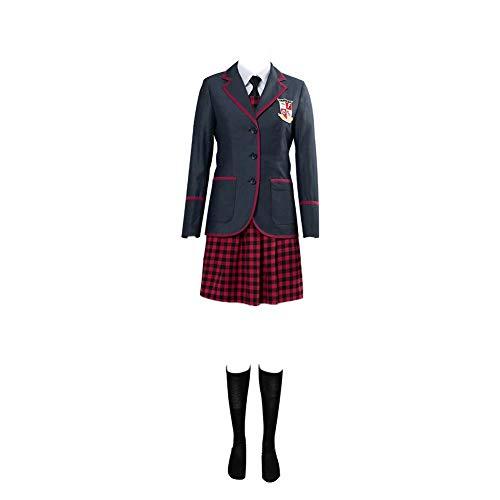Umbrella Academy Disfraz de Cosplay Uniforme escolar japonés Disfraz de Cosplay Disfraz Mujer Hombre Abrigo escolar informal El paraguas Conjunto de uniforme escolar Traje de Halloween Cosplay