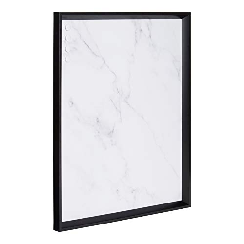 Kate and Laurel Calter Framed Decorative Magnetic Bulletin Board with Classic Glam Cararra Marble Design, 21.5x27.5, Black