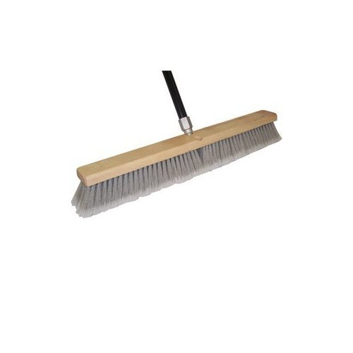 DQB Industries 09975 Grey Flagged Synthetic Tip Floor Sweep Push Broom, 24-Inch