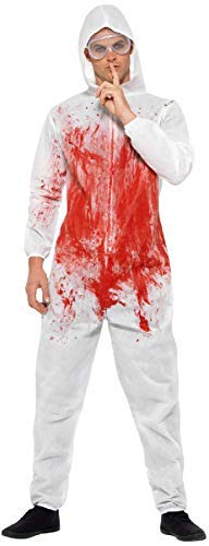 Dexter Halloween Outfits (Men Bloodied Forensic Serial Killer Horror Halloween TV Book Film Fancy Dress Costume Outfit)