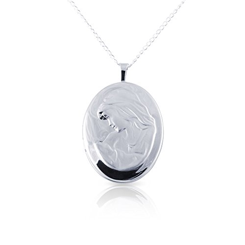 Sterling Silver 4 Picture Photo - Mother & Child Oval Photo Locket Pendant, Sterling Silver with Necklace Chain by Silver on the Rocks