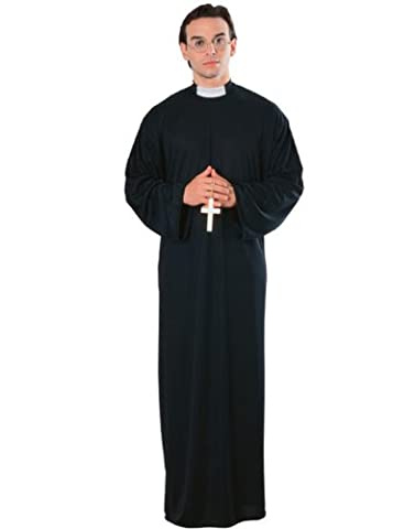 Catholic Priest Mens Robe & Clerical Collar Funny Halloween Spiritual (Priest Costume)