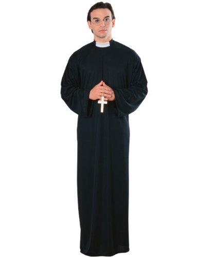 Catholic Priest Mens Robe & Clerical Collar Funny Halloween Spiritual Costume (Priest Collar Costume)
