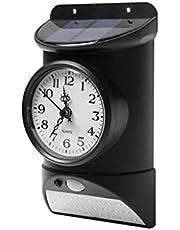 Outdoor Clock Illumination use for Front Door Garage Porch Garden,Waterproof Metal (Emitting Color : Black)