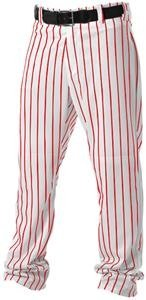 Alleson Athletic Adult Pinstripe Baseball Pant, White/Scarlet, X-Large ()