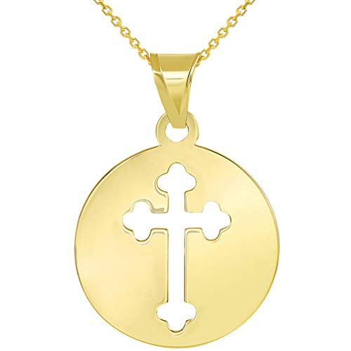 14k Yellow Gold Round Cut Out Orthodox Cross Disc Pendant Necklace, 16