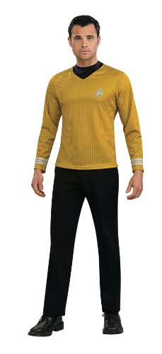 Uniform Costumes (Rubie's Costume Star Trek Gold Star Fleet Uniform Shirt, Gold, Small)
