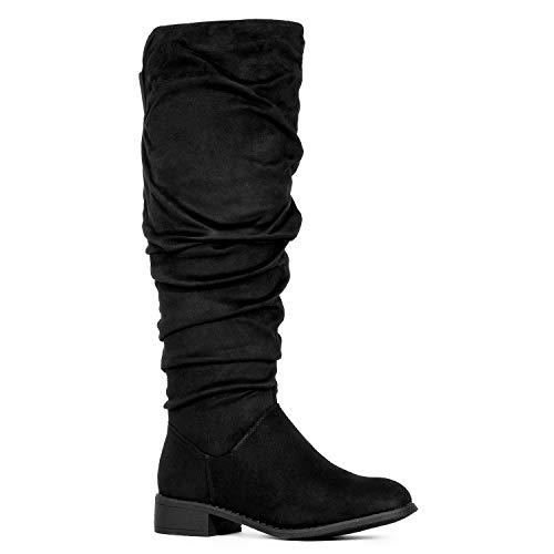 (Women's Slouchy Pull On Low Block Heel Knee High Boots (Medium Calf) Black SU (7))