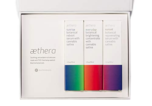 Aethera Beauty Self Care Skin Care Set with Cannabis Sativa Seed Oil - featuring Sunrise Botanical Reboot Serum, Everyday Botanical Brightening Concentrate, and Sunset Botanical Rejuvenating Serum