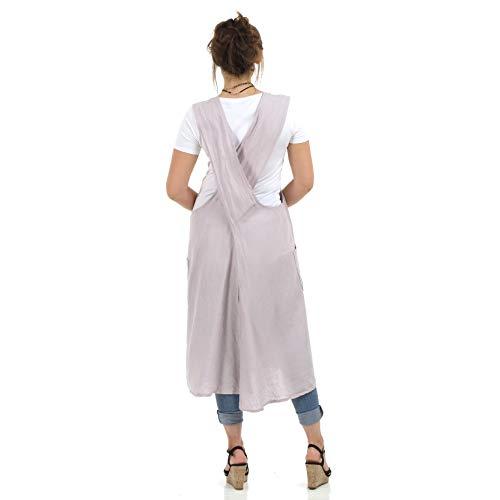 - Linen Cross Back Apron, Linen Tunic, Japanese Apron, Button Detail