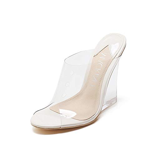MACKIN J 405-1 Women's TPU Lucite Clear Wedge Heel Open Toe Slip On Mule Dress Shoe(8.5,Transparent)