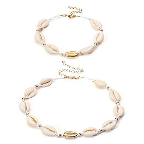SUNSCSC Handmade Summer Beach Shell Conch White Velvet Rope Choker Necklace Adjustable Conch Shell Necklace Jewelry (Shell Necklace and Bracelet)