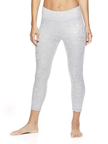 Gaiam Women's Capri Yoga Pants - Performance Spandex Compression Legging - Grey Heather Rosie Print, Small