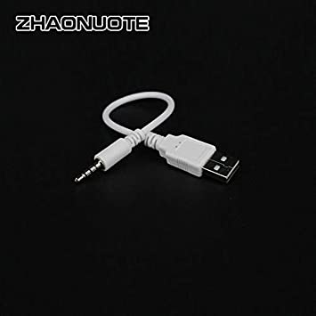 Cables 5pcs USB 3.5mm Rechargeable Data Line Computer Audio Vehicle MP3 Bluetooth Headset Charger Switch Line Cable Length: 18cm, Color: Black