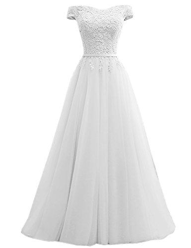 Abschusskleider Chiffon CSD181 Applikation mit Damen Ballkleider Clearbridal Abendkleider Weiß Lange 180404 q6I5x8w
