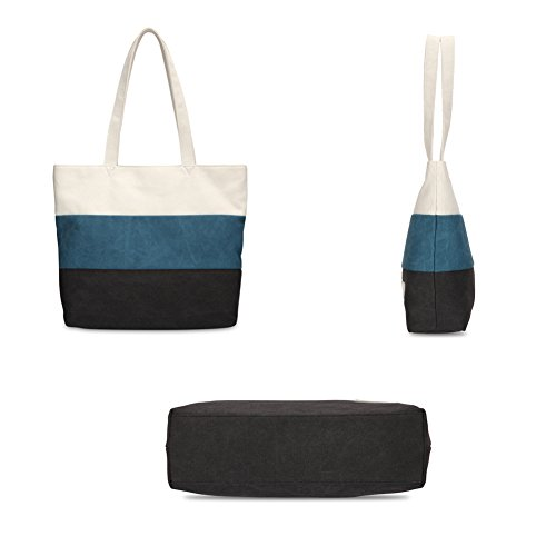 Bags Totes Color Blue Fashion for Girls and Splicing Washable Shoulder Bcony Ladies Leisure Handbags Handmade Canvas Bag White Women Beach Reusable Black Shopper 1YwwxFO