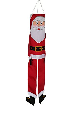 In the Breeze Lil' Santa Claus 40 Inch Windsock - Hanging Christmas Decoration - Outdoor Holiday Décor