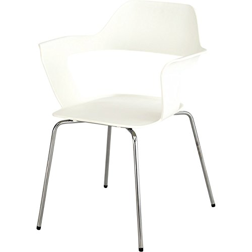 Polypropylene Stack Chair - Safco Products Bandi Shell Stack Chair 4275WH, White, Sturdy Steel Frame, Polypropylene Shell, Stacks 8 High