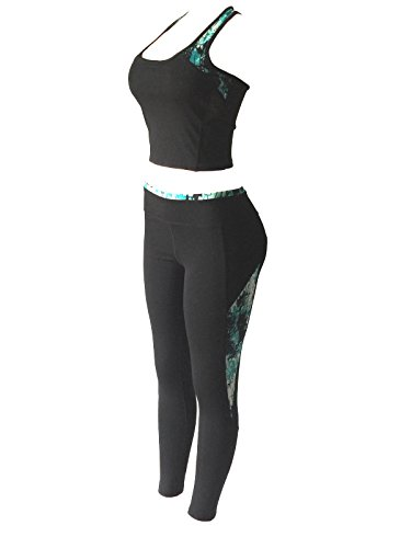 4d040ec50c5c4 Women Sports Gym Yoga Suit Workout Activewear 2 Pieces Top+Leggings Set  (S/M, Green/Black Mix)