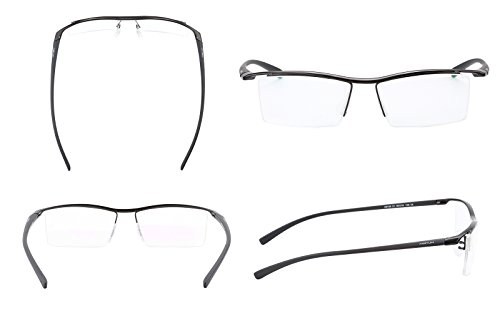 Agstum Pure Titanium Half Rimless Business Glasses Frame Eyeglasses Clear Lens