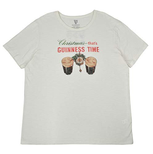 Lucky Brand Guiness Men's Christmas Guinness Time Graphic Tee T-Shirt Off White (X-Large)