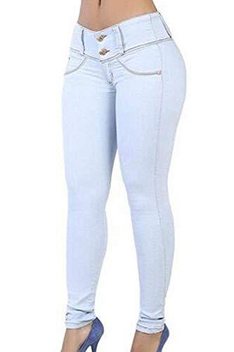 Crayon Style Jeans Skinny Simple Bouton Devant Couleur À Blau Stretch La Unie Pantalons Poches Mode Pantalon Pour Femmes ZTOiuPkX