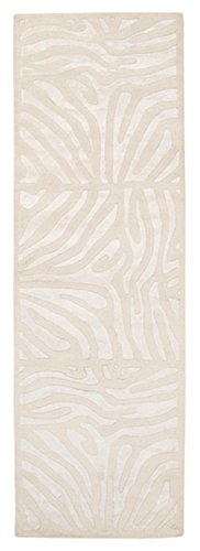 CC Home Furnishings 2.5' x 8' Burchelli Zebra Chain Parchment Wool Area Throw Rug