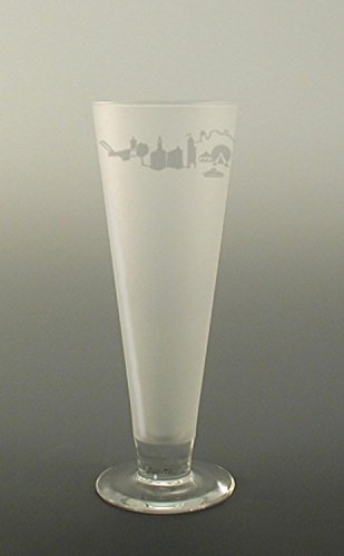 Set of 4 Chicago Skyline Etched Pilsner Beer Drinking Glasses 16 ounces by Diva At Home