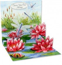 UP WITH PAPER# 876 - POP UP GREETING CARD - LILY POND