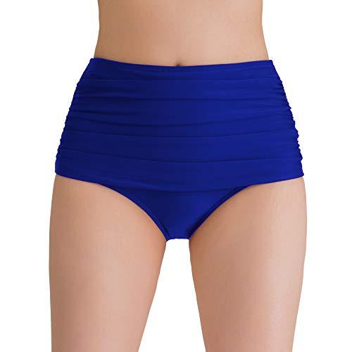 Women's Swim Bottoms Tummy Control Plus Size High Waist Swimuit Bathing Suit Bikini Tankini Briefs Blue (Brief Bottom Swimwear)