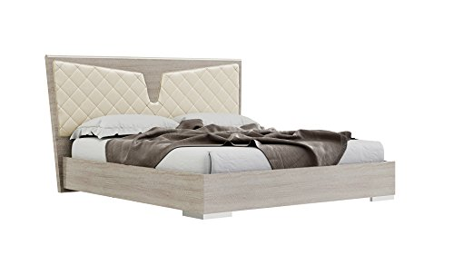 American Eagle Furniture B-P106-CK Georgia Modern Platform Bed with Upholstered Headboard, King, Light Maple (Headboard King Maple California)