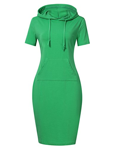 MISSKY Women Short Sleeve Pullover Stripe Keen Length Slim Hoodie Dress with Kangaroo Pocket for Causal for Spring Summer Autumn, Green, - Summer Green Women Neon Dress