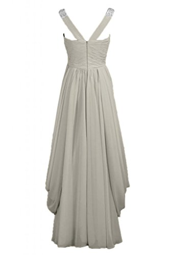 abito da vestito in d'onore V Sunvary lunga sera Chiffon scollo a Silver elegante da damigella S7qKgw0xKP