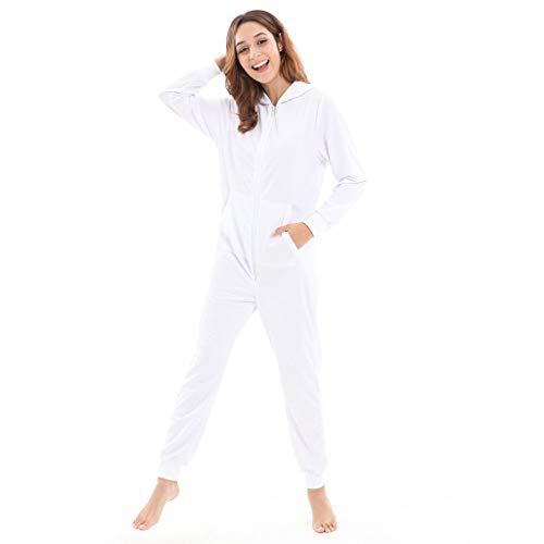 WensLTD Womens Mens Unisex Hooded Onesie Jumpsuit Christmas Romper Overall Zip up Pajama Playsuit (S, -