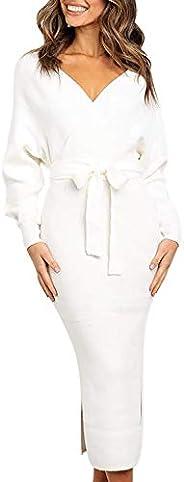 Fixmatti Women's Elegant V Neck Wrap Knit Dresses Batwing Sleeve Backless Slit Maxi Dress with Be