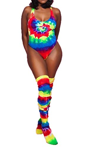 - Women Two Piece Outfits Tie Dye Printed Bodysuits One Piece Swimsuits Bikini Swimwear Monokini Long Socks Set Red